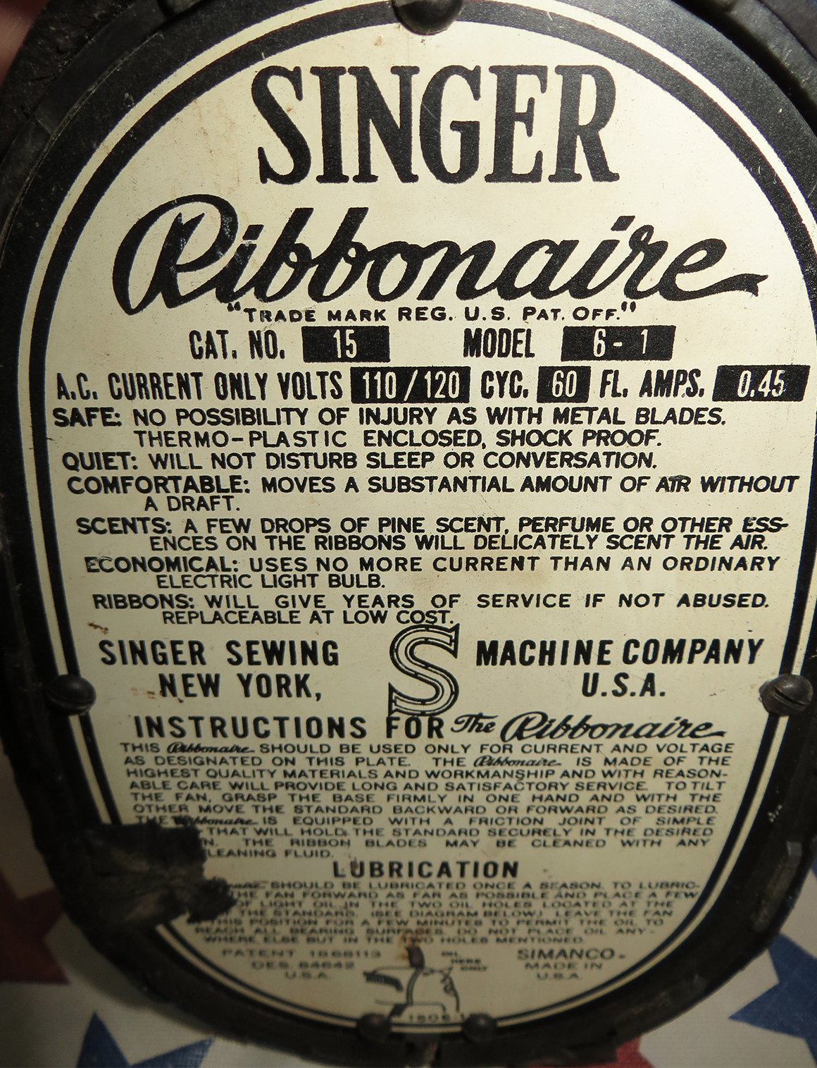 Singer Ribbonaire Fan 1935